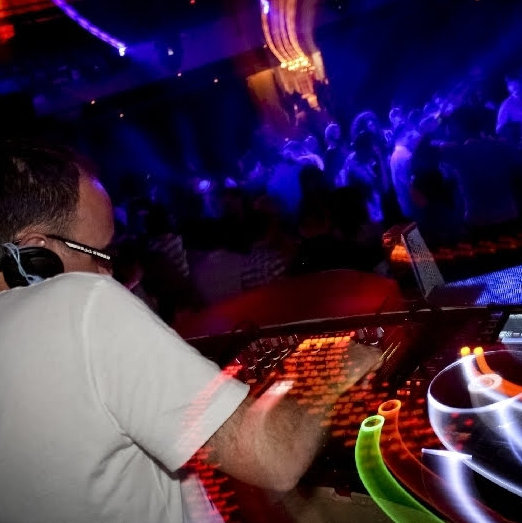 Paul Chaplin playing a DJ set to a full dance floor at Mercy nightclub in Norwich.