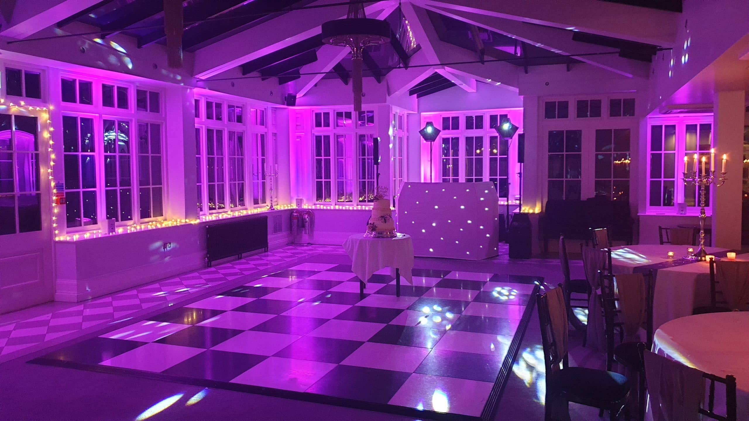Swynford Manor with Pink Uplighting for a wedding in Cambridgeshire.